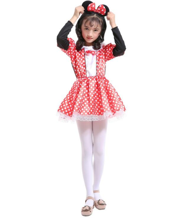 Fancy Girl Carnival Party Dress Kids Cartoon Mouse Princess Party Halloween Costume Polka Dot Clothes Birthday Dress Up