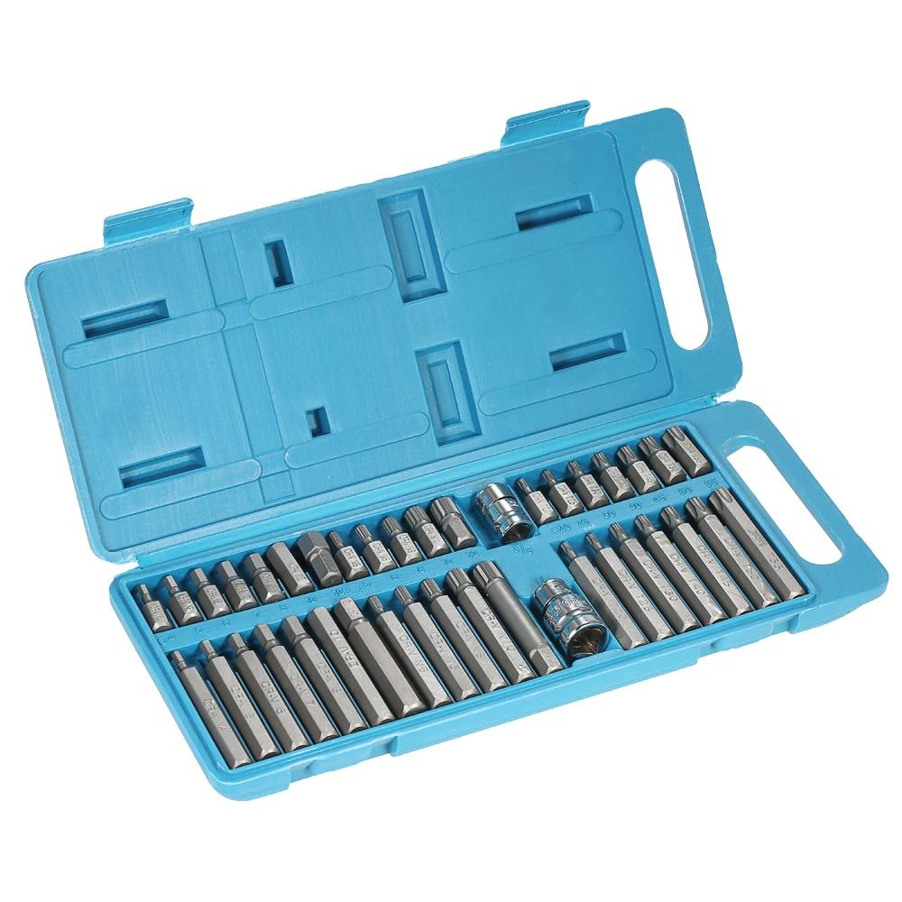 40pcs professional bits set  Chrome Vanadium Steel Torx Hex Spline Bits Sockets Set 1/2 & 3/8 hand Tools Kit +Storage Case chrome vanadium steel ratchet combination spanner wrench 9mm