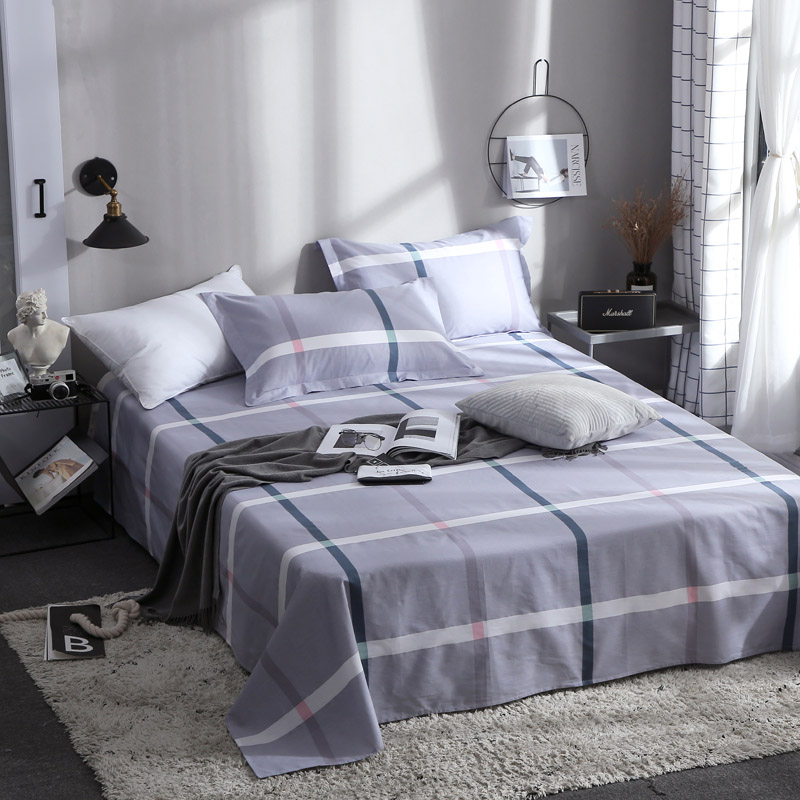 King Size Bed Sheet With Pillowcase Single Double Queen Bed Linen Stylish Purple Plaid Pattern Flat Sheet Set Leaf Bedding SheetKing Size Bed Sheet With Pillowcase Single Double Queen Bed Linen Stylish Purple Plaid Pattern Flat Sheet Set Leaf Bedding Sheet