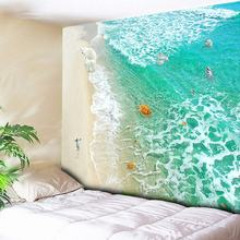 Hippie Tapestry Wall Hanging Jade Green Sea Wave Home Decor Psychedelic Tapestry Penguin Turtle Beach Decorative Wall Carpet New turtle ocean fish wall tapestry