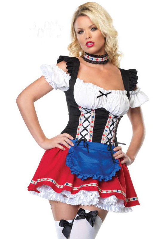 free shipping  ladies red  white oktoberfest beer maid fancy dress costume plus size S 4XL|costume national dress|dress with back zippercostume wedding dress - title=