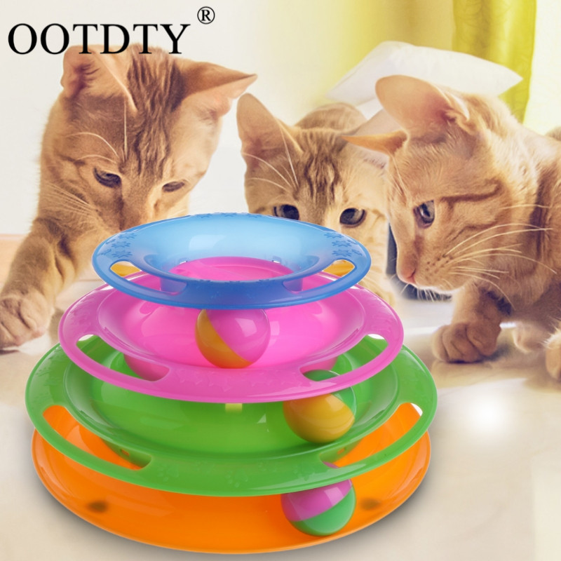 OOTDTY Funny Pet Toys Cat Crazy Ball Disk Interactive Amusement Plate Play Disc Trilaminar Turntable Cat Toy New Year