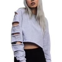 Cut Out Long Sleeve Stylish Female T Shirt Autumn Top Harajuku Sport Hollow Tee Shirt Women