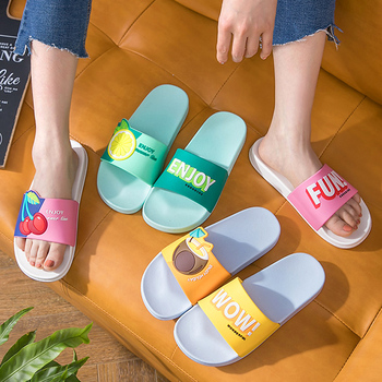 Women Summer Slippers Beach Slides Cartoon Fruits Lemon Cherry Men Couples Home Sandals Shoes Ladies Bathe Flip Flops - discount item  29% OFF Women's Shoes