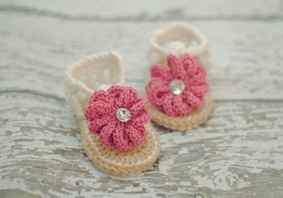 Baby Sommer Schuhe, Barfuß sandalen Häkeln Baby Sandalen mit Blume ...