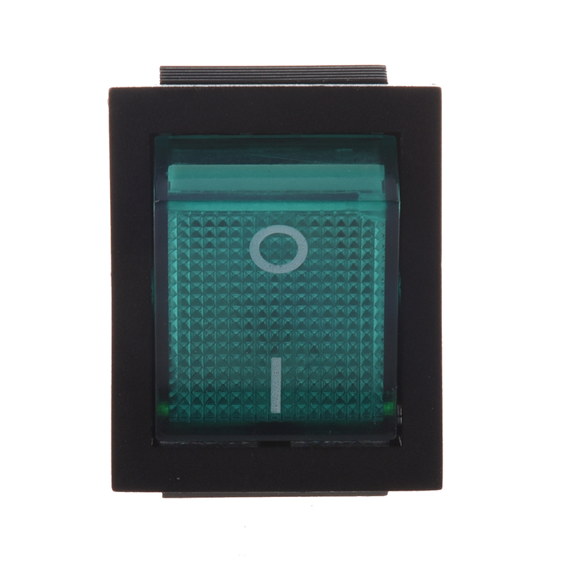 Green Light 4 Pin DPST ON/OFF Snap in Rocker Switch 15A 30A 250V AC 28x21mm