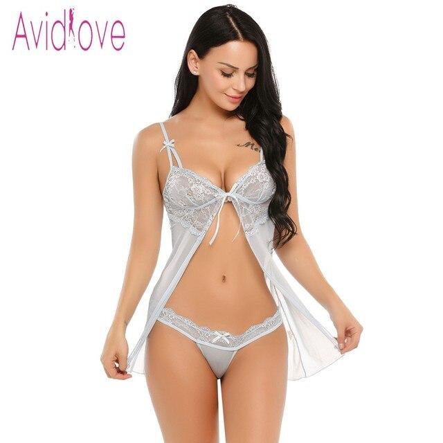 Avidlove Renda Transparente Lingerie Erótica Sexy Hot Mulheres Babydoll  Chemise Vestido de Noite Roupa Interior Íntimos f673bcd6aca