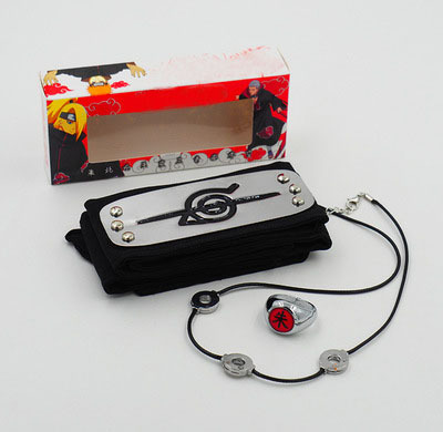 3 Piece Set Naruto Headband Ring & Necklace