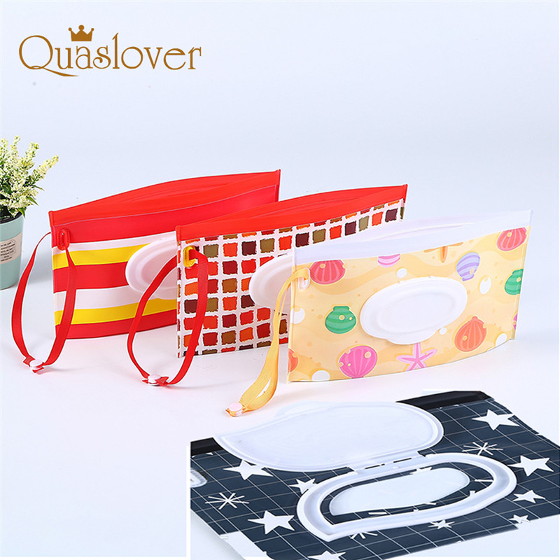 Delicious Quaslover Eco-friendly Easy-carry Wet Wipes Bag Snap Strap Wipes Container Clamshell Cosmetic Pouch Clutch Cleaning Wipes Case