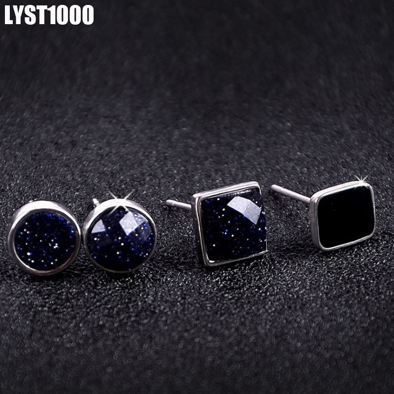 LYST1000 Fine Jewelry Fashion 925 Sterling Silver Stud Earrings For Men Geometric Round Club Black Onyx Punk