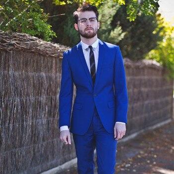 Latest Coat Pant Designs Royal Blue Custom 2017 Blazer Groom men suit Tuxedo Wedding Suits For Men 2 Pieces Slim Fit Masculino
