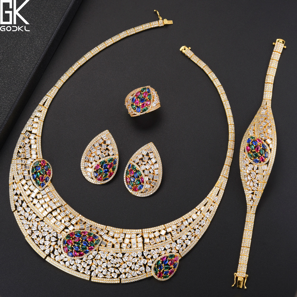 GODKI Luxury Multicolor 4PCS African Jewelry Sets For Women Wedding Cubic Zircon Crystal CZ Engagement DUBAI