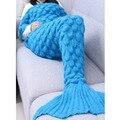 iiniim Blue Color Mermaid Blanket ,Pattern Crochet Mermaid Tail,Knitted Mermaid Tail Blanket For Adult Child Kids Girls Boy