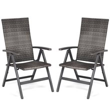 Adjustable 2 pcs Rattan Folding Reclining Outdoor Wicker Portable Chairs Waterproof and Wear-resistant Garden Chair SetHW59992(China)