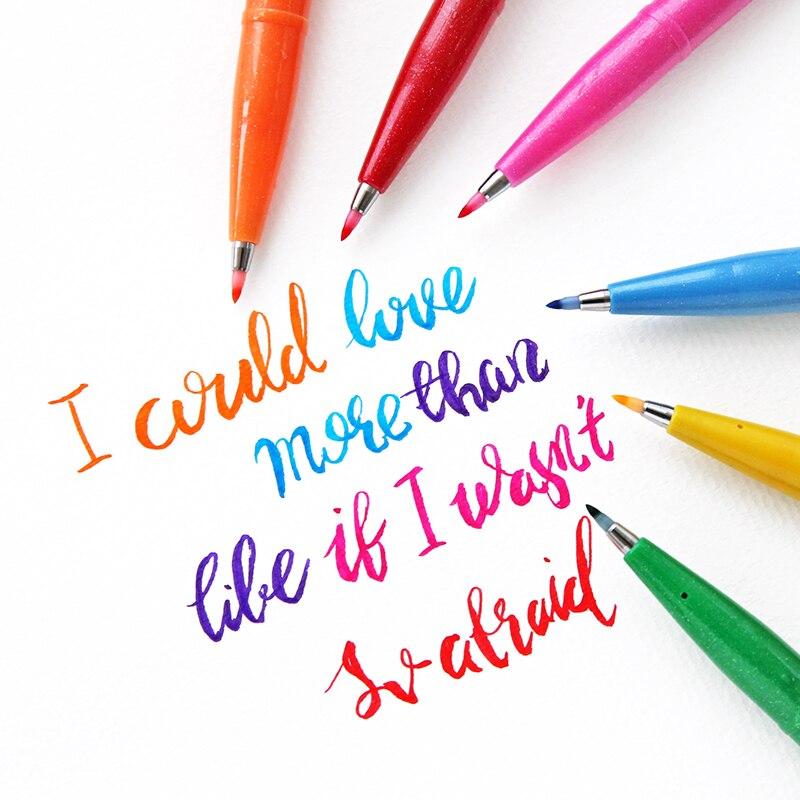 12 Colores/juego de señal táctil Fude pluma de fieltro pincel de pincel rotulador de punto Flexible rotulador de colores surtidos para dibujar caligrafía