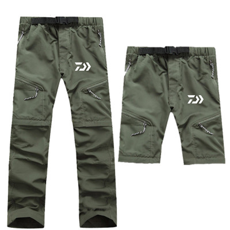2019 New DAIWA Fishing Pants Outdoor Breathable Quick Dry Camping Hiking Fishing Clothing 2 Pics Zipper Removable Fishing Pants