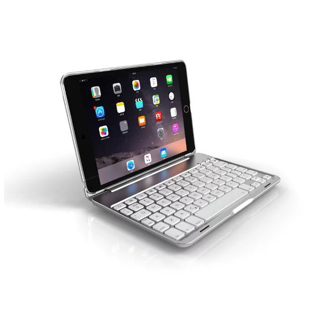 7 Colors Backlit Light Wireless Bluetooth Keyboard Case Cover For iPad Mini 4 Aluminum shell+ABS keyboard