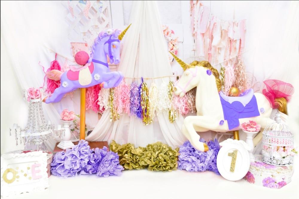 7x5FT Birthday Party Blue Unicorn 1st Boy Baby Shower