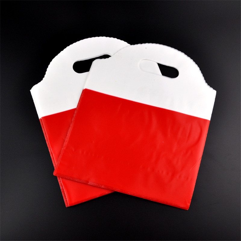 Wholesale 100pcs/lot 25x29.5cm red plastic gift bag cosmetics boutique jewelry gift packaging plastic shopping bags with handle