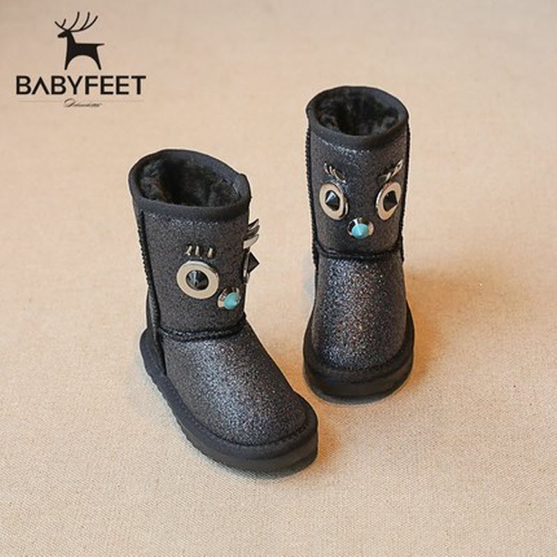 babyfeet children snow boots girl boots winter warm velvet booties princess shoes Sequins cotton boots kids ankle boot chaussure