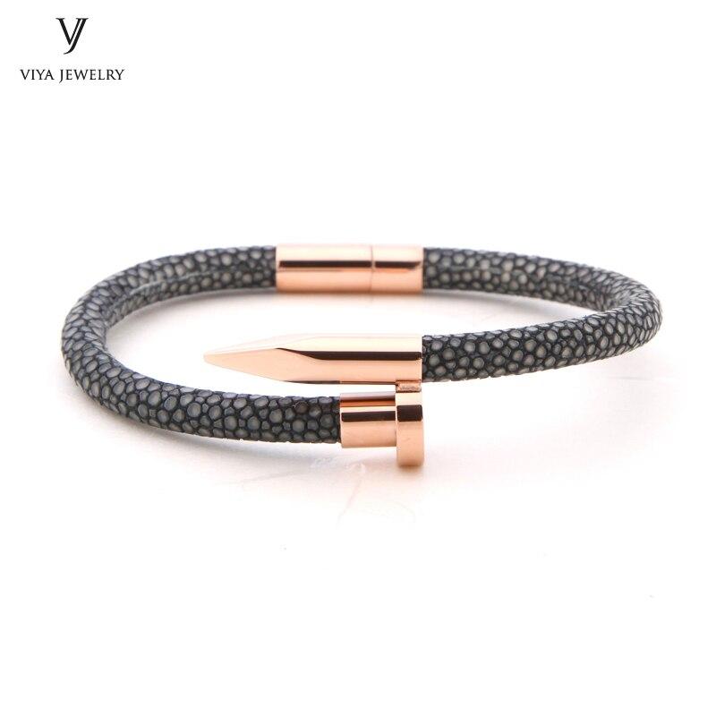 Лидер продаж Новинка 2017 года Дизайн stingray браслет для Для мужчин настроить натуральной серый кожа ската розовое золото ногтей браслет для па