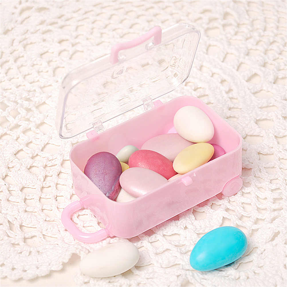 1Pc Rolling Travel Koffer Vorm Doos Gunst Box Wedding Gunsten Party Receptie Gevallen Snoep Pakket Dozen Snoep 76*51*38Mm