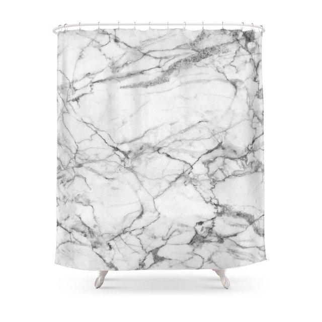 Marmo bianco di Pietra Set Tenda Della Doccia Impermeabile In Tessuto Poliestere