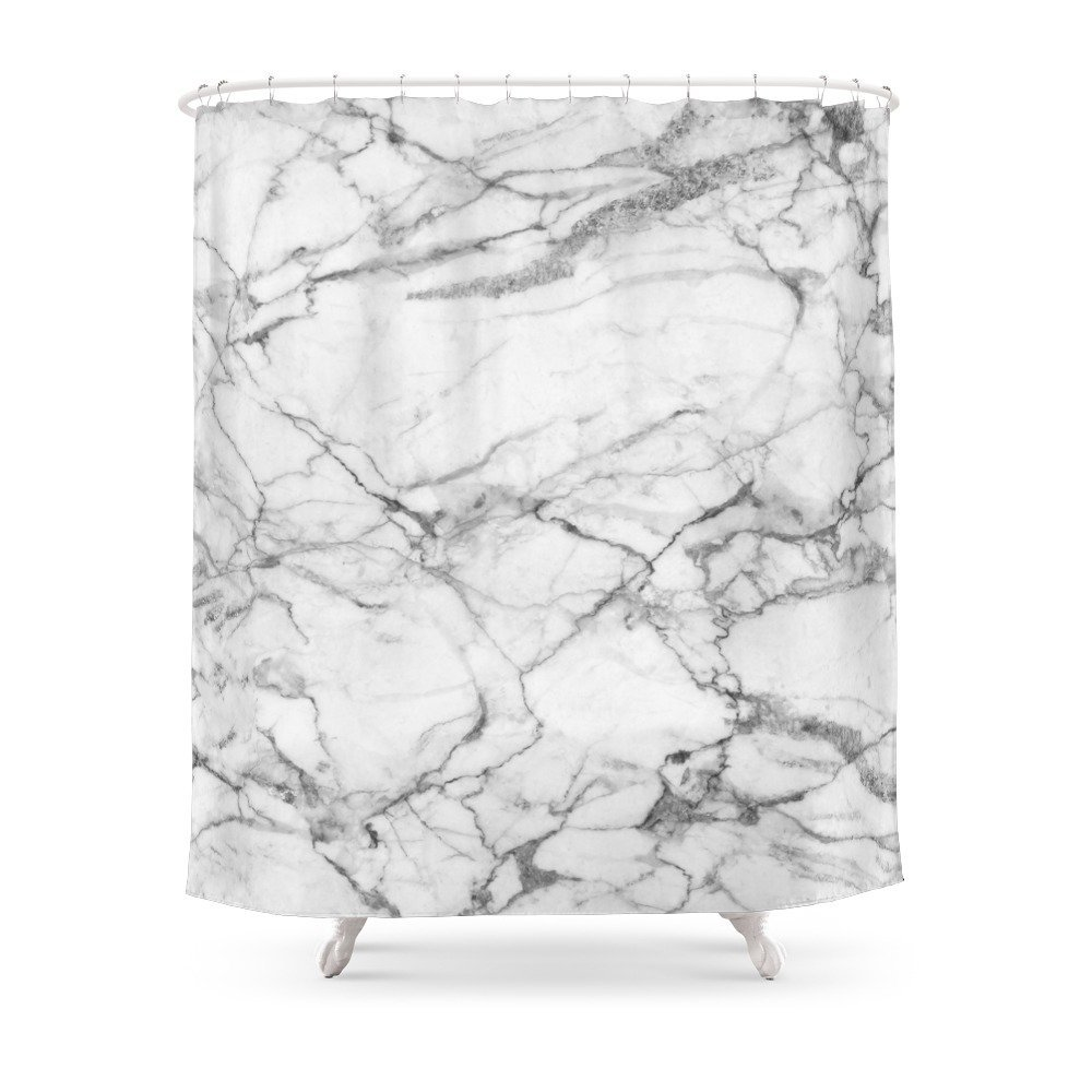 White Marble Stone Shower Curtain Set Waterproof Polyester Fabric Bath Curtain For Bathroom With Non slip