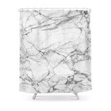 Белый Мрамор камень Душ Шторы комплект Водонепроницаемый полиэстер ткань ванна Шторы для Ванная комната с нескользящей коврик