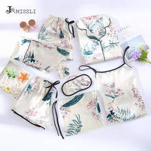 JRMISSLI Bloemenprint Shorts Vrouw Pyjama Set Zijde Eenvoudige Vrouwelijke Homewear Kleding Spaghetti Band 7 Stuks Pyjama Pak