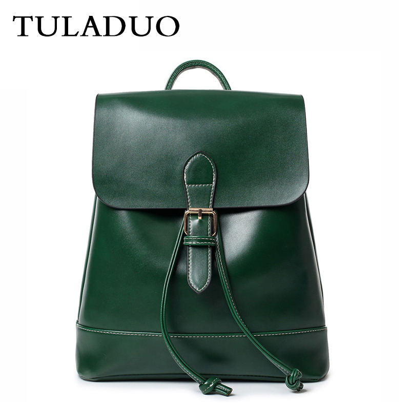 ФОТО Tuladuo Backpacks For Teenage Girls Vintage Woman Leather Backpack For School Black String Brand Rucksack Sac a Dos Preppy Style