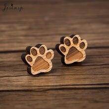 Jisensp – boucles d'oreilles en forme de pattes d'animal de compagnie pour enfants, en bois, bon marché, cadeaux de personnalité pour femmes, vente en gros