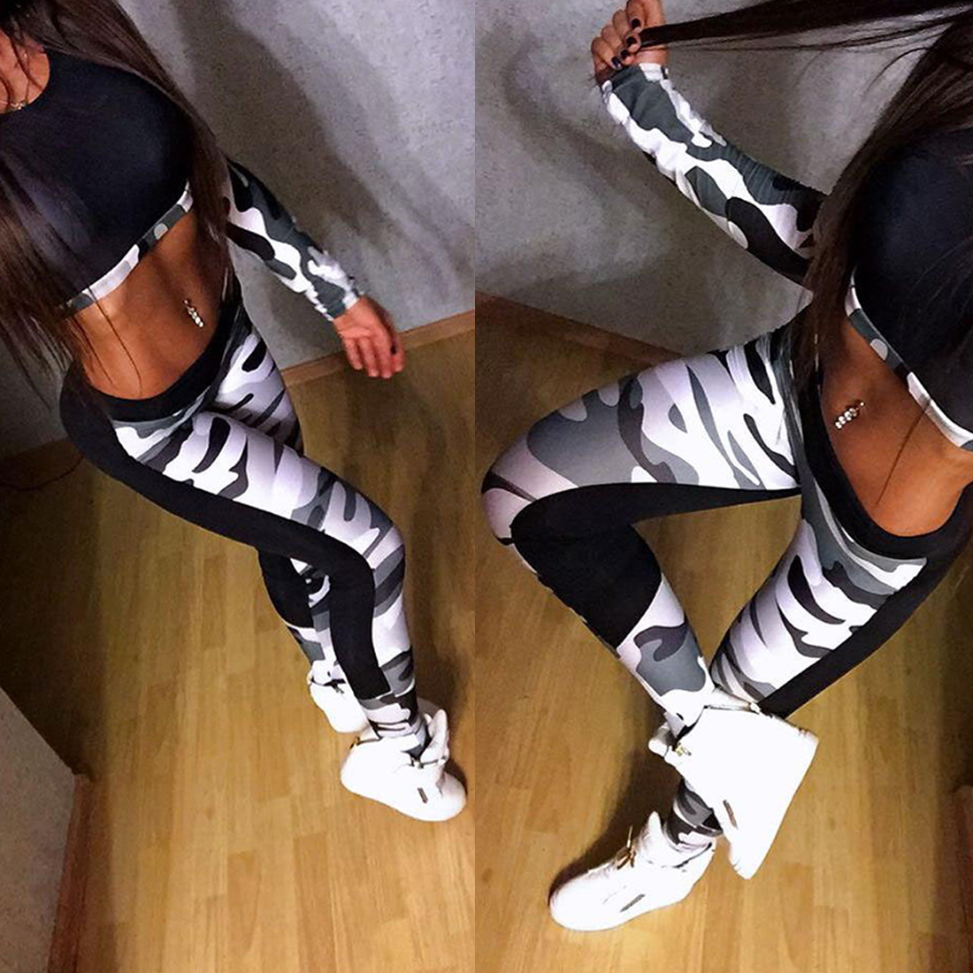 Good Selling  Women Summer Sexy Fashion  Fitness Crop Top+ Pants Leggings Workout  Wear Set