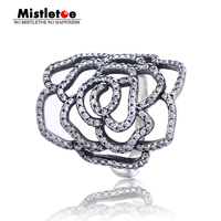 Genuine 925 Sterling Silver Medium Rose Silver Ring With Cubic Zirconia Ring Compatible With Pandora Ring