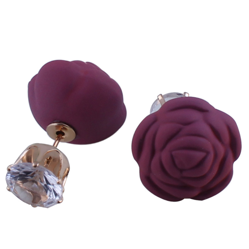 2017 New Design Rubber Rose Flowers Double Sides Ball Earrings Shining Crown Crystal Simulated Ball Earrings