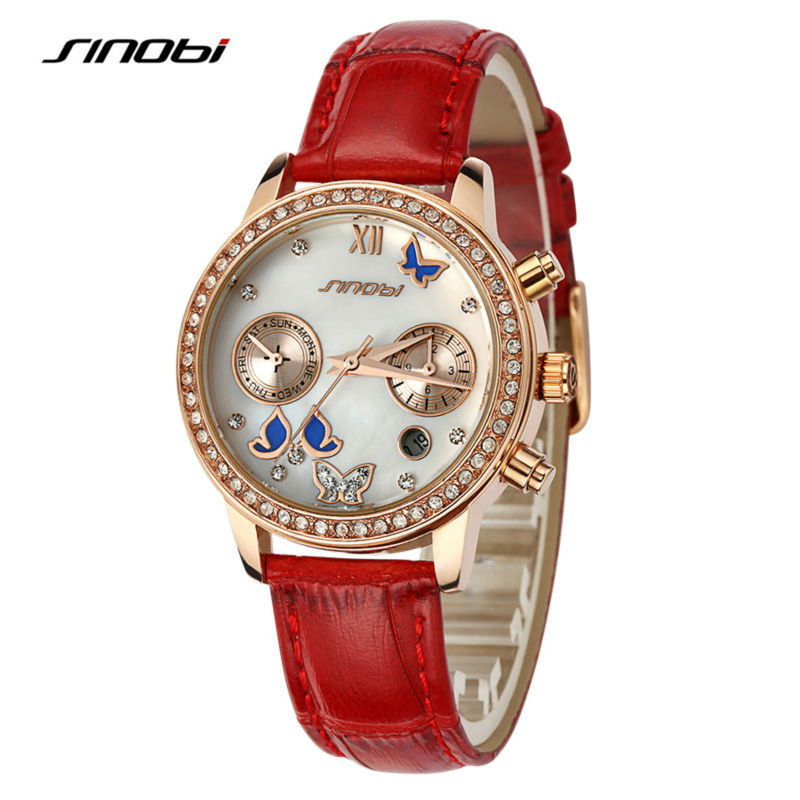SINOBI Ladies Luxury Wrist Quartz-watch Red Leather Rose Gold Diamond Nail Women Fashion Wristwatches Automatic Designer Watches top quality full stainless steel watch band for apple watch strap band link bracelet band for iwatch 38mm 42mm 2016 new sale