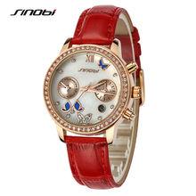 SINOBI Ladies Luxury Wrist Quartz-watch Red Leather Rose Gold Diamond Nail Women Fashion Wristwatches Automatic Designer Watches