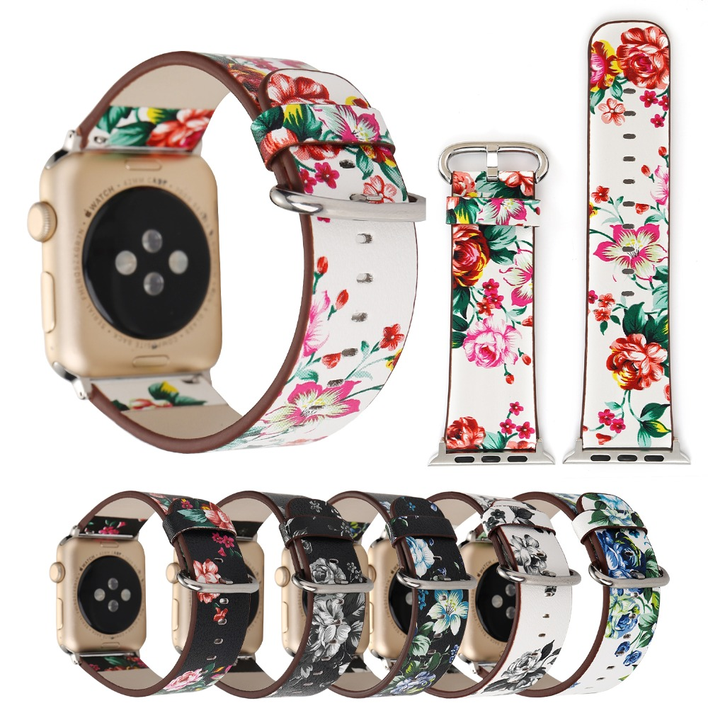 Floral Printed Leather Watchband for Apple Watch Band Strap 42 38mm Flower Design Leather Bracelet wrist belt for iwatch4 3 2 1