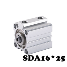 SDA16*25 Standard cylinder thin cylinder Dual Mode SDA Type Pneumatic Cylinder 16mm Bore 25mm Stroke Mini Air Cylinders 1 pcs 16mm bore 25mm stroke stainless steel pneumatic air cylinder sda16 25