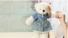 about 30cm blue flowers skirt teddy bear plush toy soft bear doll,high quality goods, baby toy birthday gift,Xmas gift c771