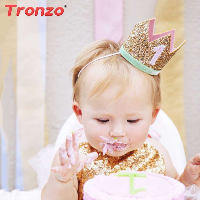 Tronzo First Birthday Party Hats Baby Shower Girl 1st Crown Headband Cap Decoration