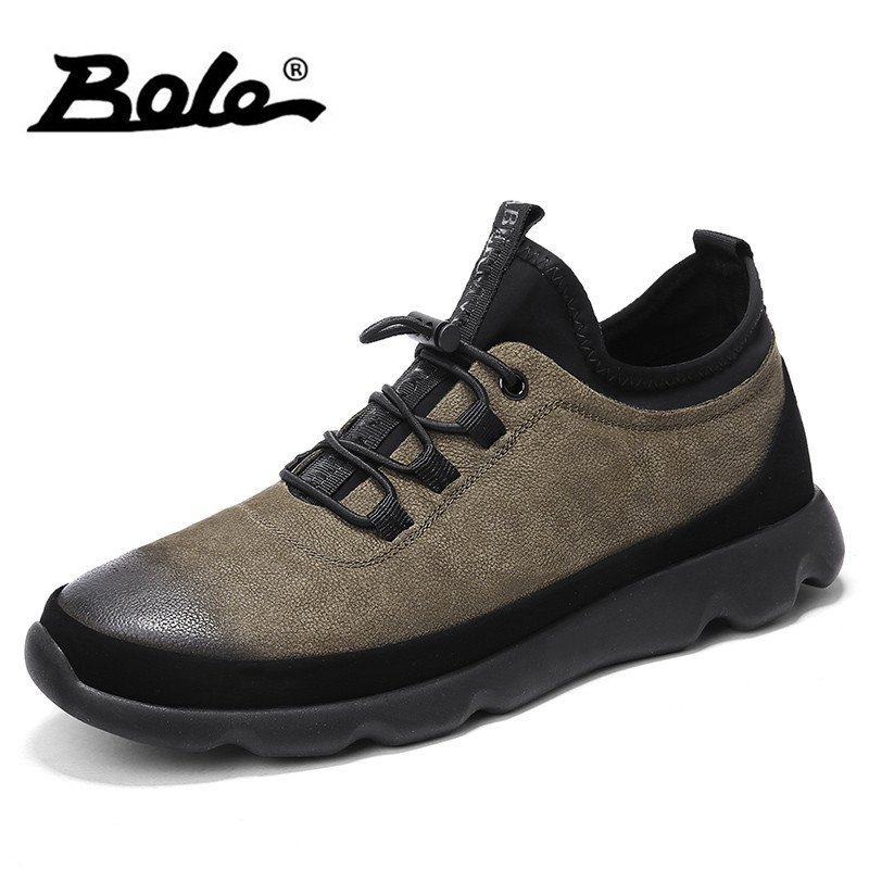 BOLE Men Lace Up Sneakers Fashion Leather Casual Shoes Male High Quality Comfortable Flat Shoes New Design Footwear for Men 2018 new fashion high top canvas shoes men stitching leather men s casual shoes lace up flats comfortable soft footwear