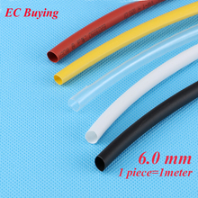 1m /pcs 6mm Heat Shrink Tubing Wire Wrap Heat-Shrink Tube 2:1 Thermo Jacket  Insulation Matierial Black White Yellow Clear Red