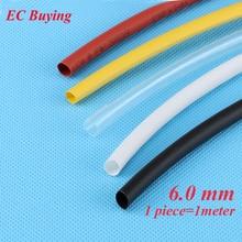 1 m/unids 6mm Tubería Encogible Wire Wrap Tubo Termorretráctil 2:1 Termo Aislamiento Chaqueta Matierial Negro Blanco amarillo Claro Rojo