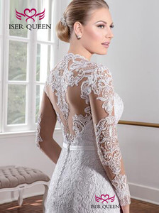 Image 2 - Винтажное кружевное платье Русалочка с длинным рукавом, однотонное белое платье на заказ для свадьбы, модель W0151