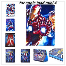 2015 New hot Cartoon Super man case Book Flip pu leather Case Protective cover For apple ipad mini 4 mini4 retaina With Stand new fashion dandelion uk usa pattern wallet card pu leather stand case cover for ipad mini 4 mini4 with screen protector pen