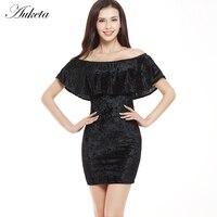 Auketa Off Shoulder Sexy Summer Dress Women Golden Velvet Sheath Dress Female Hip Package Ruffles Dresses 2017 New Fashion