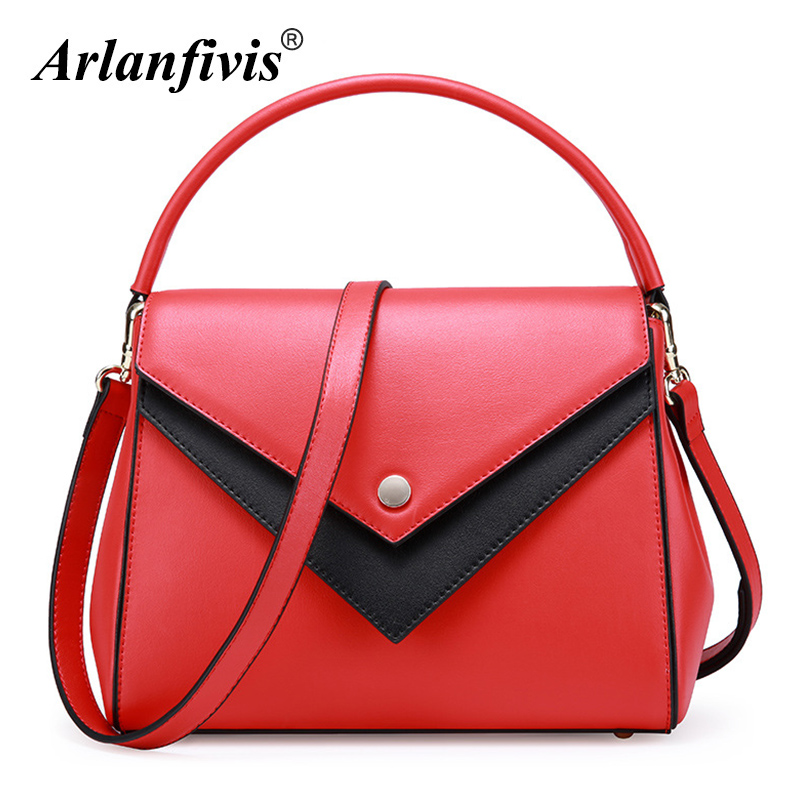 Arlanfivis Genuine Leather Fashion Brand Designer Women Handbag Leather Messenger Bags Crossbody Female Bag Bolsa Tote Panelled arlanfivis genuine leather new designer 2018 fashion woman bag cowhide large capacity female handbag wide strap crossbody bags