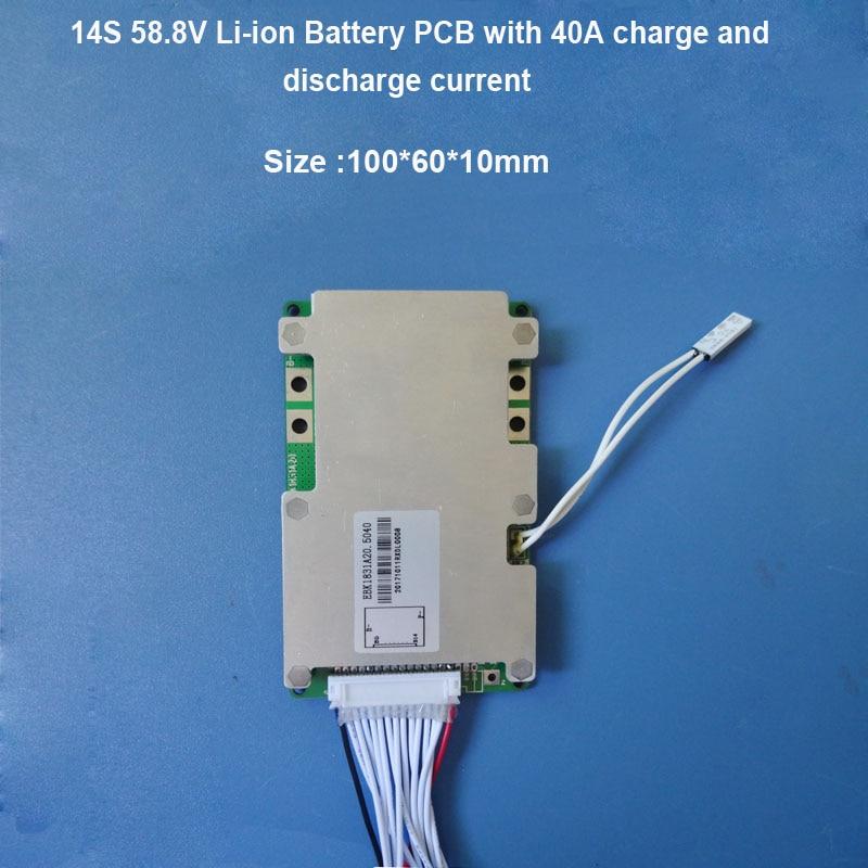 58,8 V Li Ion Batterie Pcb Board Von 14 S Bms Mit 40a Konstante Ladung Und Entladung Strom Für 48 V Elektrische Roller Batterie