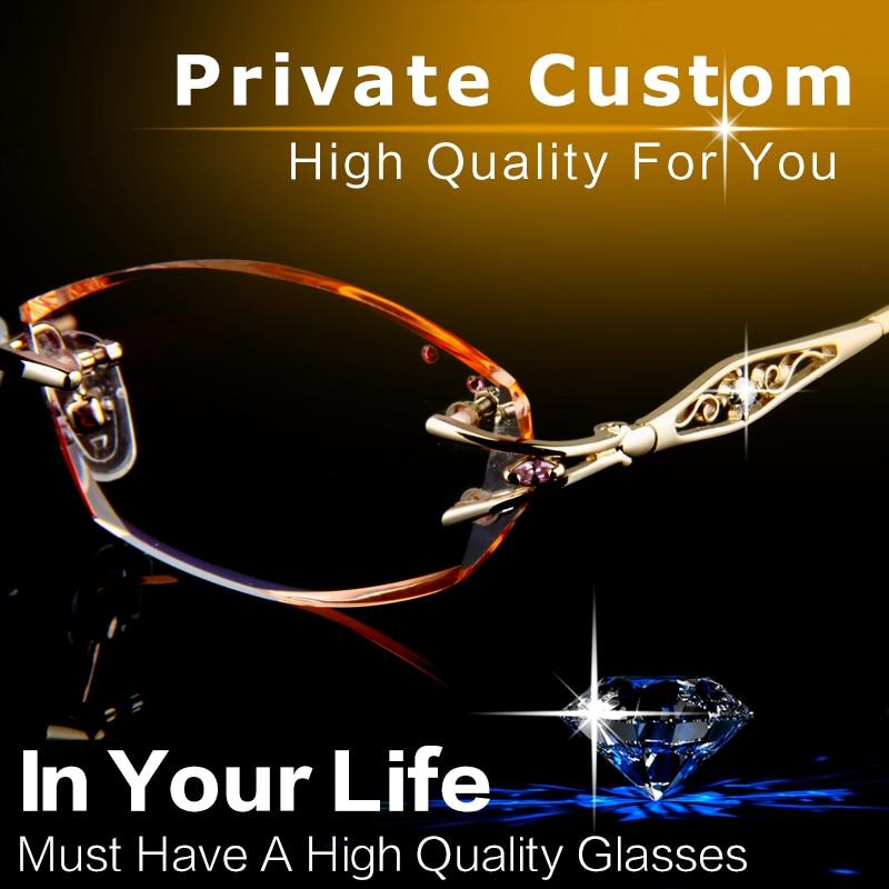 Luxury Eyeglasses Rimless Women Myopia Prescription Eye Glasses Diopter  Rhinestone High Clear Lenses Gold Ladies Reading Eyewear-in Prescription  Glasses ... b9c8b6edff24